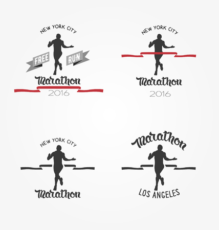 red tape: Set of marathon , long distance running and competition.  Running man silhouette crossing the finish red tape. Illustration