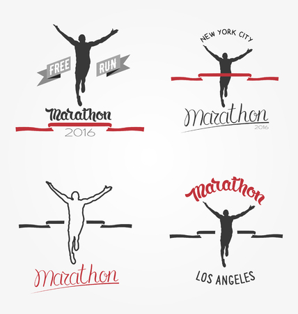 long distance: Set of marathon icon, long distance running and competition.  Running man silhouette crossing the finish red tape.