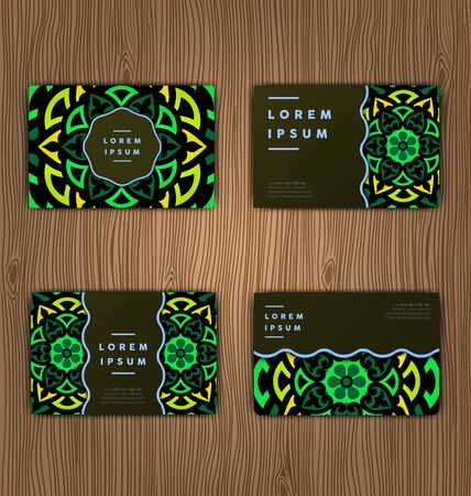 creation of sites: Cards with mandala. Round Ornament Pattern.