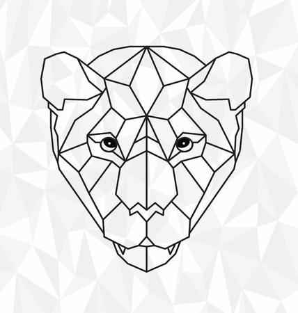 anger abstract: Polygonal head of tiger