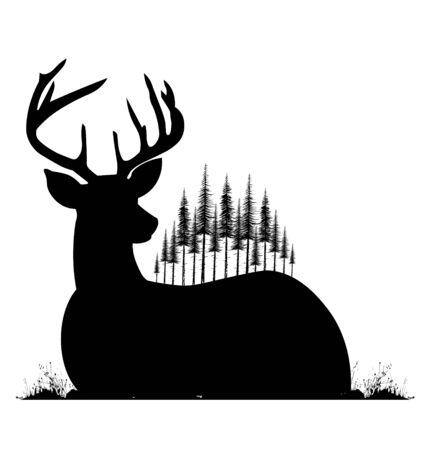 Silhouet van liegen herten en dennenbomen op zijn rug. Vector Illustratie