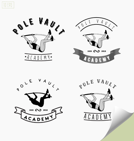vault: Set of icon with pole vaulting or jumping. Illustration