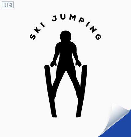 thrilling: Jumping skier silhouette on white background. Winter Sport. Illustration
