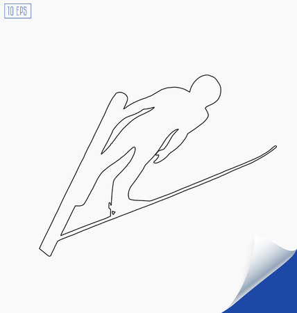 thrilling: Outline jumping skier silhouette on white background. Winter Sport.