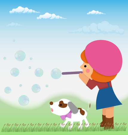 russell: Cartoon little girl inflates soap bubbles next to a small dog, a Jack Russell. Material design