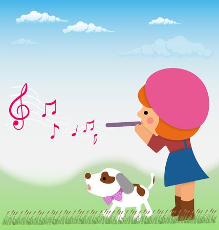 Cartoon bambina sta giocando il flauto da esso volare le note, nei pressi di piccolo cane, Jack Russell. Design materiale Vettoriali
