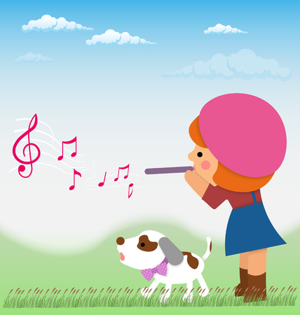 jack russel: Cartoon little girl is playing on the flute from it flying notes, near little dog, Jack Russell. Material design