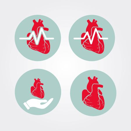 cardiovascular disease: Human heart icon set with cardiogram and human hand. Medical icon.