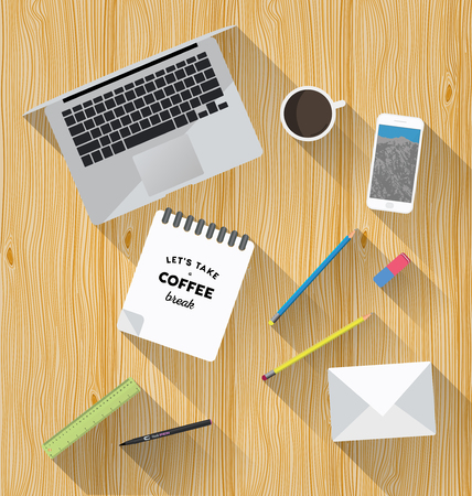 work space: Working place in flat design. Constructor of your own work space