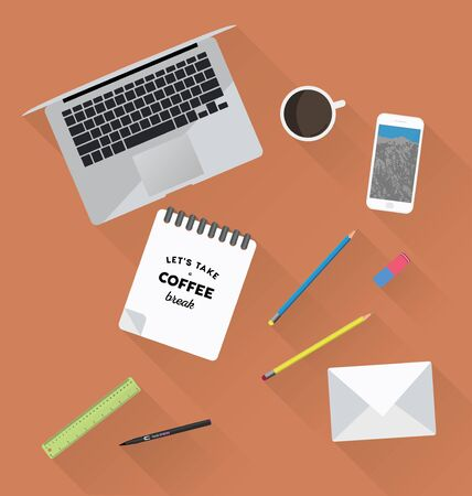 working place: Working place in flat design. Constructor of your own work space