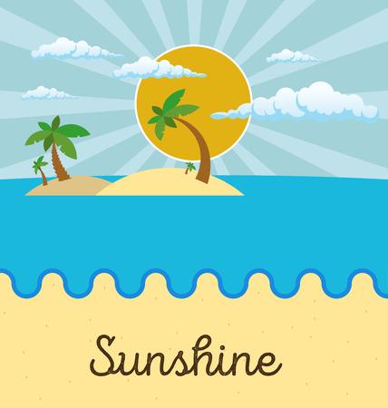 sun beach: Summer beach scene: sun, clouds in the sky, palms. Flat style