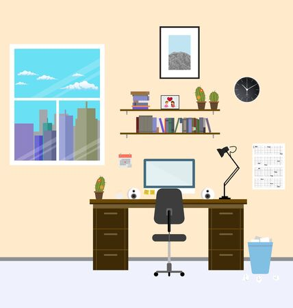 study table: Cozy modern workplace near the window in room. Flat style. Creative office workplace