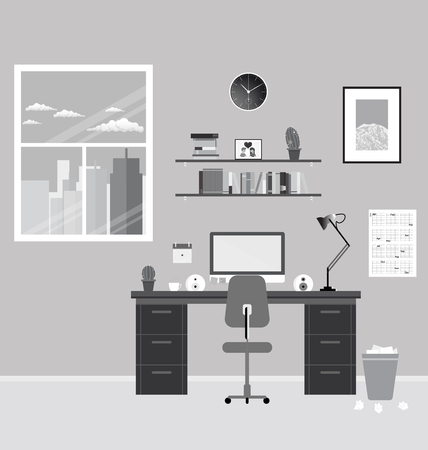 cozy modern office interior cozy modern workplace near the window in room flat style interior51 interior