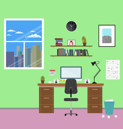 megapolis: Cozy modern workplace near the window in room. Flat style. Creative office workplace