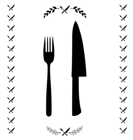 chef knife: Black chef knife and fork crossed in vector Illustration