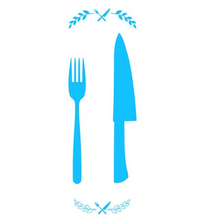 chef knife: Blue chef knife and fork crossed in vector