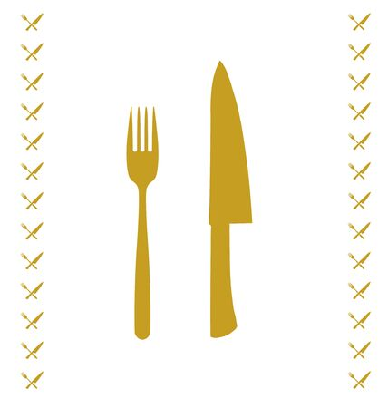 chef knife: Yellow chef knife and fork crossed in vector
