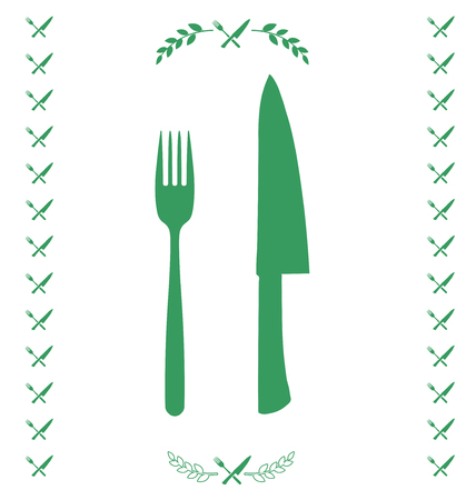 chef knife: Green chef knife and fork crossed in vector