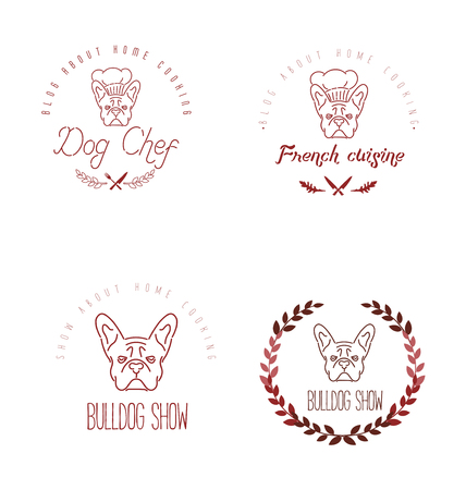 canine: Set of icon with french bulldog and twigs. Nanoline style