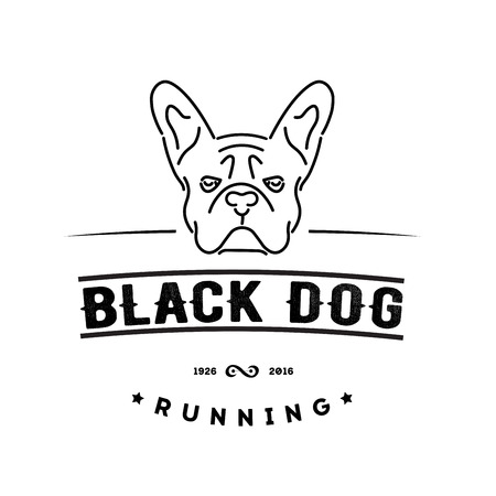 Icono del inconformista con el bulldog francés. estilo nanoline Foto de archivo - 54768107
