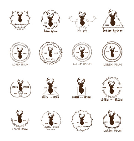 twigs: Set of hipster logo with silhouette of deer and twigs around