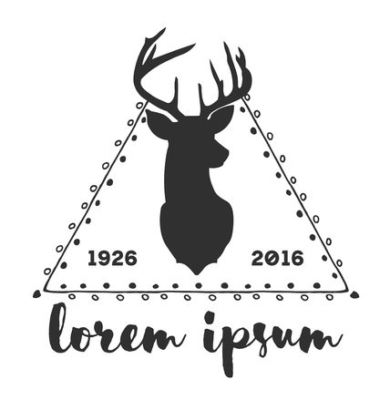 twigs: Hipster logo with silhouette of deer and twigs around Illustration