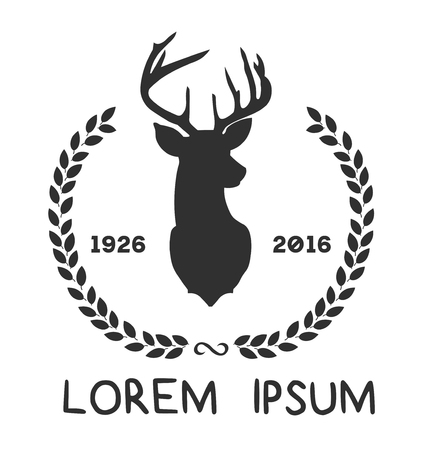 Hipster icon with silhouette of deer and twigs around