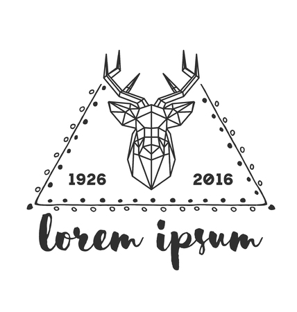 twigs: Hipster icon with silhouette of polygonal deer and twigs around.