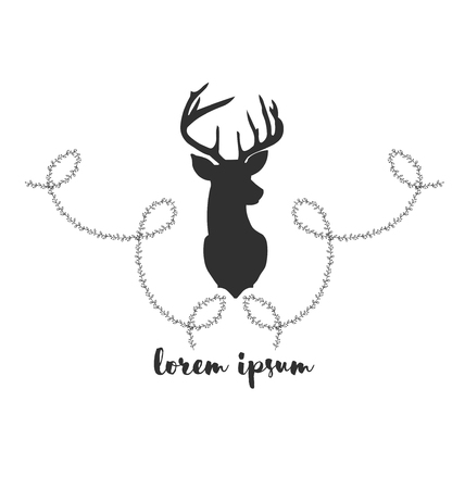 twigs: Hipster icon with silhouette of deer and twigs around