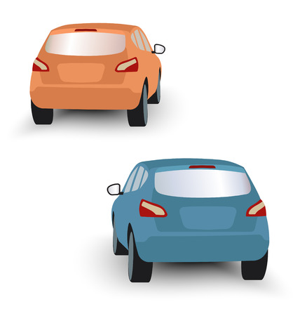 rearview: Back of hatchback cars orange and blue in vector on white background