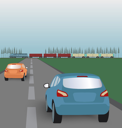 green road: Vector landscape background: road with cars in green valley and  freight train. Flat design