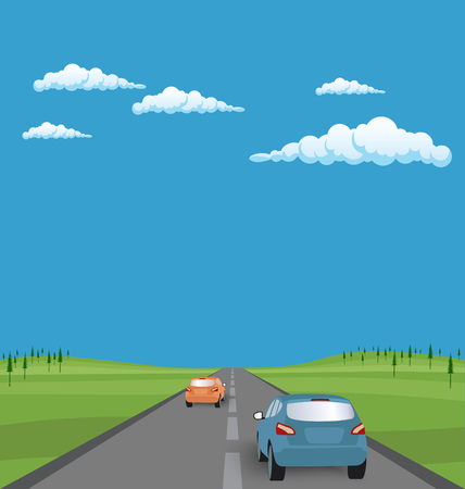 rear view: Vector landscape background: road with cars in green valley, hills, clouds. Flat design