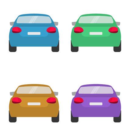 Zestaw tyłu samochodów w wektorze na białym tle. Ilustracje wektorowe