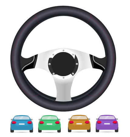 rearview: Realistic steering wheel and set of back of cars in vector on white background.