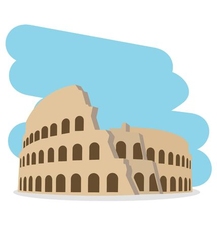 ruins: Coliseum isolated vector illustration