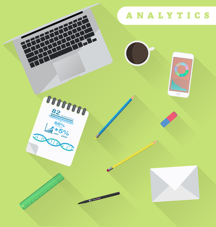 working place: Business analytics and financial audit. Brainstorm and calculations. Working place in flat design Illustration
