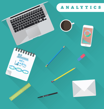 conscience: Business analytics and financial audit. Brainstorm and calculations. Working place in flat design Illustration