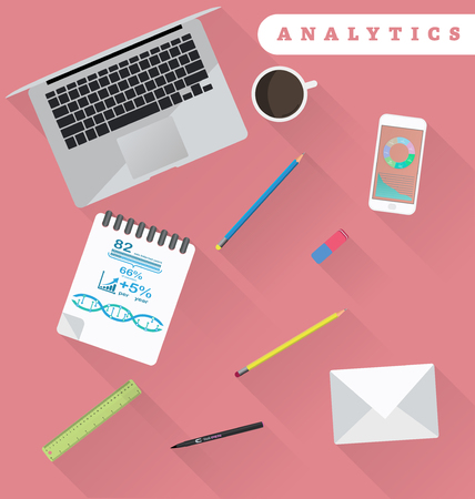 auditing: Business analytics and financial audit. Brainstorm and calculations. Working place in flat design Illustration