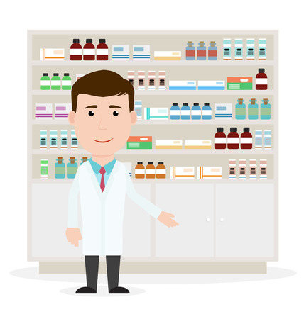 Modern flat vector illustration of a male pharmacist showing medicine description at the counter in a pharmacy opposite the shelves with medicines. Health care. Vector illustration.