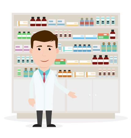 Ilustración vectorial Moderno piso de un farmacéutico de sexo masculino que muestra Descripción medicina en el mostrador de una farmacia frente a los estantes con medicamentos. Cuidado de la salud. Ilustración del vector. Foto de archivo - 57433654