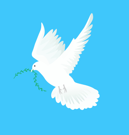 dove flying: Vector illustration of white dove flying way up in a blue sky with green twig in beak. Symbol of peace