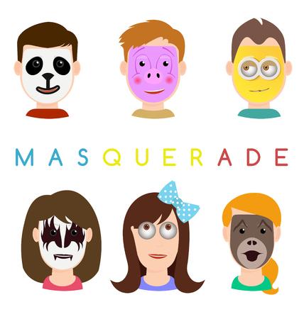 eye mask: Face mask icons. Faces with animals pig, panda, monkey masks, banana, gothic and crazy eye mask