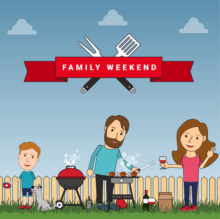 barbeque grill: Happy family weekend or picnic: mother, father and their son playing with dog. Food and barbeque, summer and grill. Vector illustration in flat style.
