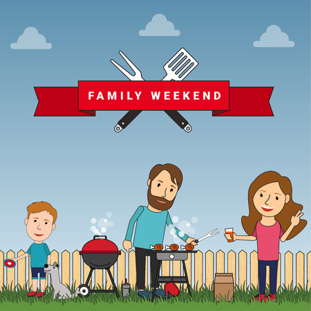 summer dog: Happy family weekend or picnic: mother, father and their son playing with dog. Food and barbeque, summer and grill. Vector illustration in flat style.