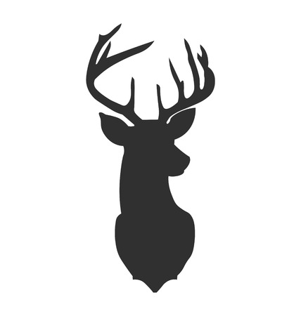 Hand drawn silhouette of head of reindeer. Vector illustration.