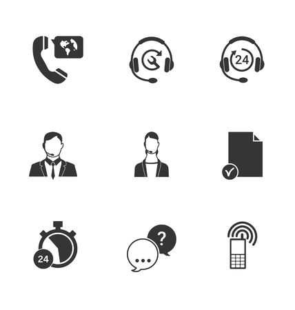 inquiry: Set of call center and support service icons: hotline, contact center, contacts mobile phone and communication isolated vector illustration.