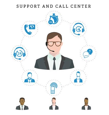 Conjunto de servicio de centro de llamadas y los iconos de apoyo: línea telefónica, centros de contacto, los contactos del teléfono móvil y la comunicación. Operador del centro de atención telefónica en copas. ilustración del vector. Foto de archivo - 57433685