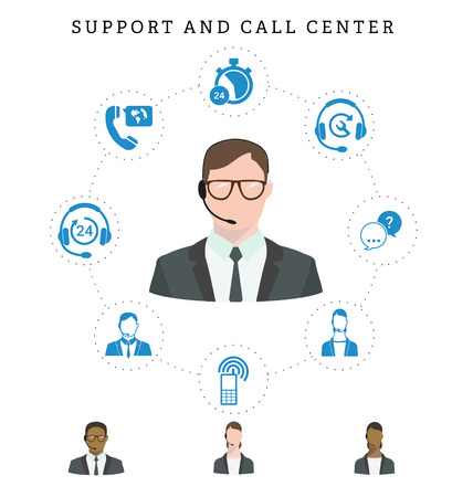 Set of call center service and support icons: hotline, contact center, contacts mobile phone and communication. Operator of call center in glasses. Isolated vector illustration. Stock Illustratie