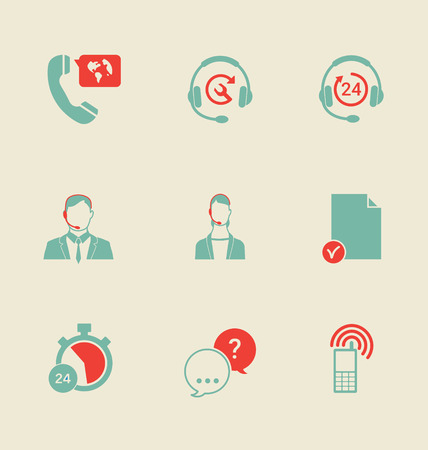 Set of call center and support service icons: hotline, contact center, contacts mobile phone and communication isolated vector illustration.