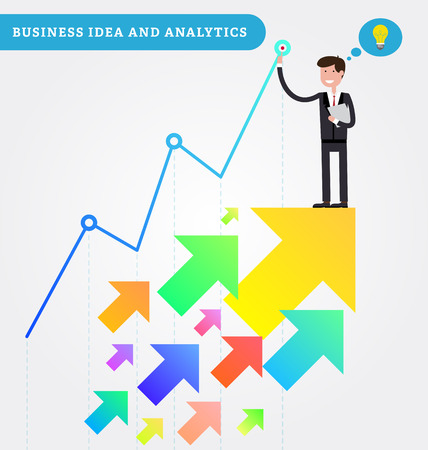 rise to the top: Successful young businessman holds documents in his hand and stays on the top of a growing chart. Growth with arrows rise up. Vector illustration in flat style. Business idea and analytics.